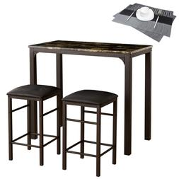 VECELO Faux Marble Dining 3-Pieces High/Pub Table Set with 2