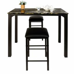Faux Marble Dining Table Set 3-pieces VECELO