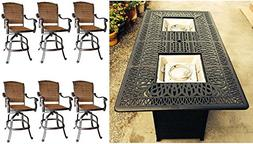 7 Piece Fire Pit Patio Dining Outdoor Bar Set Santa Clara Sw