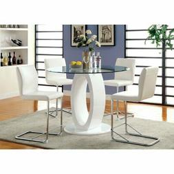 FoA Damore Contemporary Counter Height High Gloss Round Dini