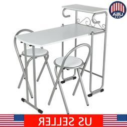 Folding 3pc Dining Set MDF Metal Table & 2 Chairs Kitchen Di