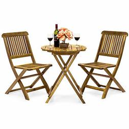 Best Choice Products 3-Piece Folding Acacia Wood Patio Bistr