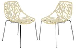 LeisureMod Forest Modern Dining Chair with Chromed Legs, Set