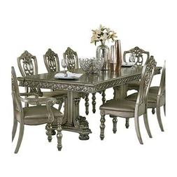 FORMAL 9 PC PLATINUM GOLD DINING TABLE SHIELD BACK CHAIRS DI