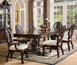 7 PCs Traditional Formal Dining Set in Deep Rich Cherry Fini