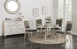 Formal Tufted Silver Finish Chairs 5pc Dining Set Round Tabl