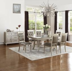 Formal Tufted Silver Finish Side Chairs 7pc Dining Set Table