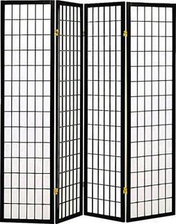 Four Panel Black Finish Room Divider/Screen by Coaster Furni