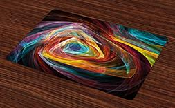 Ambesonne Fractal Place Mats Set of 4, Psychedelic Gradient
