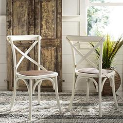 Safavieh Franklin X Back Chair in Ivory - Set of 2