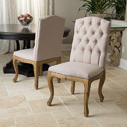 Set of 2 French Vintage Design Weathered Wood Dining Chairs