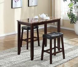 Roundhill Furniture 3-Piece Counter Height Glossy Print Marb