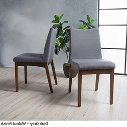 Gertrude Dark Grey Fabric with Walnut Finish Mid Century Mod