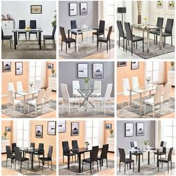 Glass Dining Table+4/6 Dining Chairs Set Faux Leather Dining