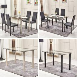 Glass Dining Table+4Pcs Dining Chairs Set Faux Leather Kitch