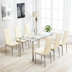 Mecor 7 Piece Glass Dining Table Set with Leather Chairs Kit