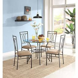 MSS 5-Piece Glass and Metal Dining Set, Includes table and 4