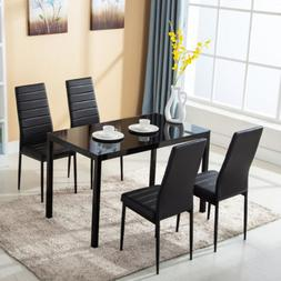 5 Piece Dining Table Set For 4 Chairs Metal Glass Kitchen Fu