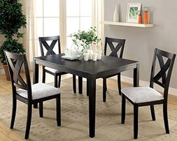 Furniture of America Glenham Distressed Black 5 Piece Dining