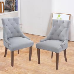 Set of 2 Tufted Dining Chairs Accent Chairs with Rubber Soli
