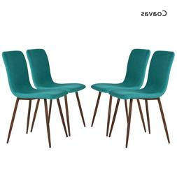 Green Dining Chairs Fabric Cushioned Kitchen Modern Seat w/