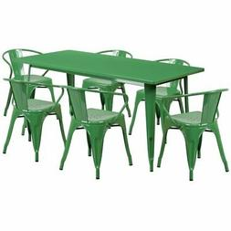 Green Metal Indoor Table Set ET-CT005-6-70-GN-GG
