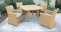 Outdoor Patio Woven Wicker 5 Piece Patio Dining Set with Sun