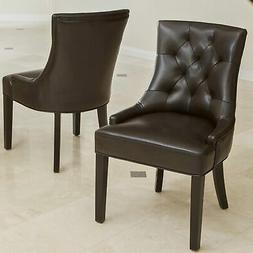 Hayden Tufted Brown Leather Dining Chair  by Christopher Kni