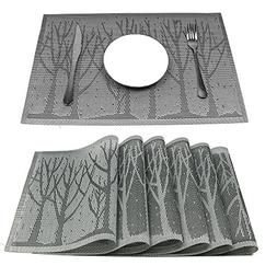 HEBE Placemats for Dining Table Set of 6 Crossweave Woven Vi