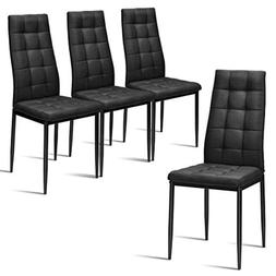 High Back Dining Chairs Set of 4 Fabric Upholstered Padded H