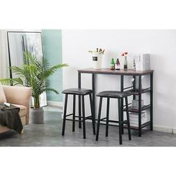 High Grade 3 Piece Pub Table Set Bar Stool Dining Chairs Cou