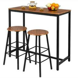 High Grade 3-Piece Pub Table Set with 2 Bar Stools for Kitch