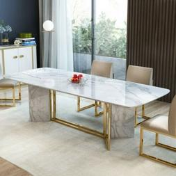 Homary 78.7 Inches Rectangular White Faux Marble Dining Tabl