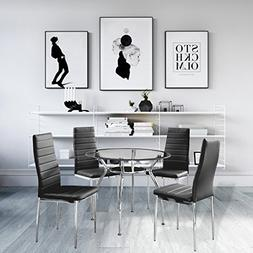 5-Piece Home Dining Kitchen Furniture Set Round Table with G