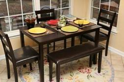 Home Life 5pc Dining Dinette Table Chairs  Bench Set Espress