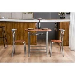 Hot 3 Piece Dining Set Metal Table and 2 Chairs Kitchen Dini