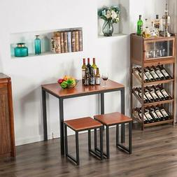 Hot 3 Piece Metal Counter Height Dining Set Table and 2 Chai
