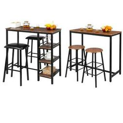 Hot 3 Piece Pub Table Set Bar Stools Dining Home Kitchen Fur