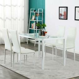 Hot 5 Piece Dining Set GlassTable and 4 Leather Chair for Ki