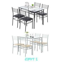 Hot 5 Piece Metal Dining Table Set 4 Chairs Wood Home Dining