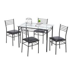 Hot Kitchen 5 Piece Metal Dining Table Set 4 Chairs Glass Di