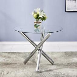 Hot Style Round Dining Table Chair Glass Metal Kitchen Dinin