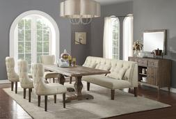 ACME Inverness reclaimed oak finish white dining set with 1