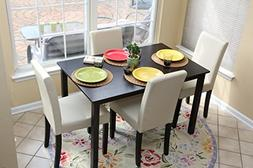 5 PC Ivory Leather 4 Person Table and Chairs ivory Dining Di