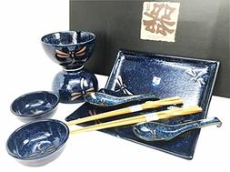 Japanese Tombo Dragonfly Blue Motif Ceramic Sushi Dinnerware