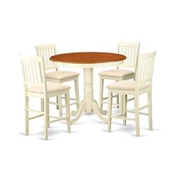 East West Furniture JAVN5-WHI-C 5 Piece Dinette Table and 4