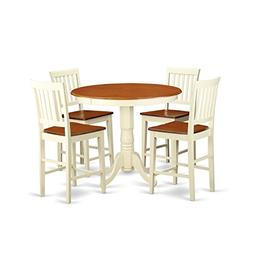 East West Furniture JAVN5-WHI-W 5-Piece Counter Height Dinin