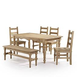 Manhattan Comfort Jay Collection Traditional Pine Wood 7 Pie