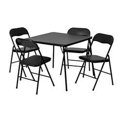 Offex 5 Piece Black Folding Card Table and Chair Set