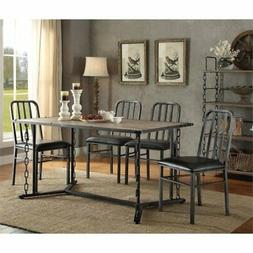 ACME Furniture Jodie 5 Piece Dining Set in Rustic Oak and Bl